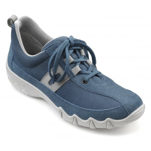 Hotter Leanne Blue River Nubuck/Suede Flat Lace Up Trainer Style Shoe