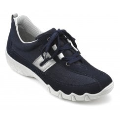 Leanne Navy Multi Wide Fit Nubuck/Suede Flat Trainer Style Shoe
