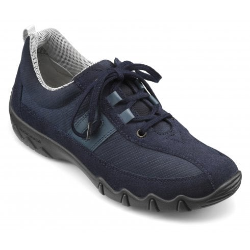 Hotter Leanne Navy Std Fit Nubuck/Suede Flat Lace Up Trainer Shoe