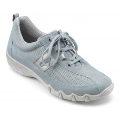 Leanne Sky Blue Multi Leather Flat Trainer Style Shoe