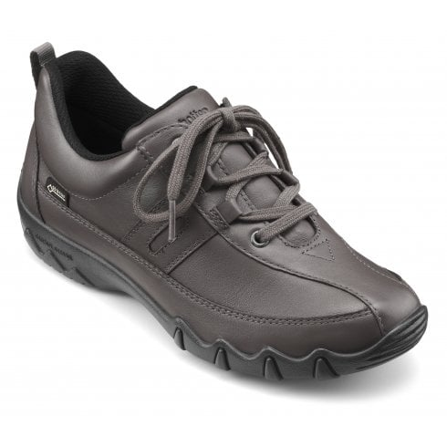 Hotter Leanne Std Fit Gunmetal Gore-Tex Leather Flat Lace Up Trainer Shoe