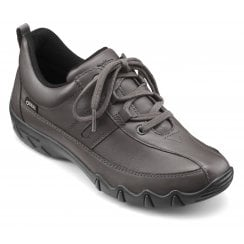 Leanne Std Fit Gunmetal Gore-Tex Leather Flat Lace Up Trainer Shoe