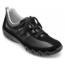 Leanne Std Fit Jet Black Leather/Suede Flat Lace Up Trainer Shoe