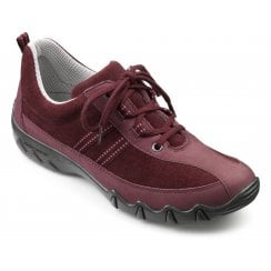 Leanne Std Fit Maroon Nubuck/Suede Flat Lace Up Trainer Shoe