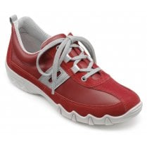 Leanne Std Fit Scarlet Leather/Suede Flat Lace Up Trainer Shoe