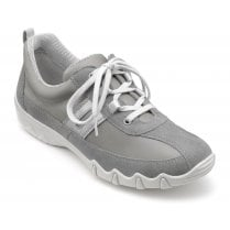 Leanne Std Fit Urban Grey Leather/Suede Flat Lace Up Trainer Shoe