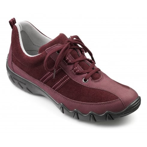 Hotter Leanne Wide Fit Maroon Nubuck/Suede Flat Lace Up Trainer Shoe