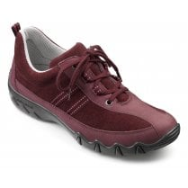 Leanne Wide Fit Maroon Nubuck/Suede Flat Lace Up Trainer Shoe