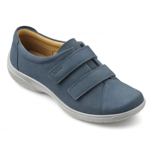 Hotter Leap Blue River Nubuck Twin Velcro Strap Shoe