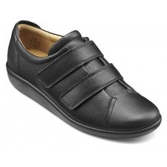 Leap Extra Wide/3E Black Leather Twin Velcro Strap Shoe