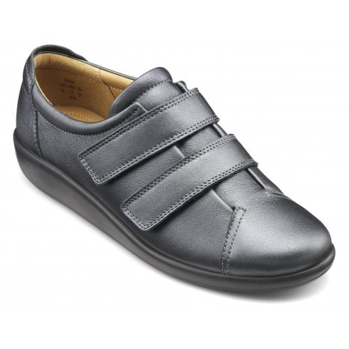 Hotter Leap Extra Wide/3E Fit Midnight Metallic Leather Flat Twin Strap Velcro Shoe