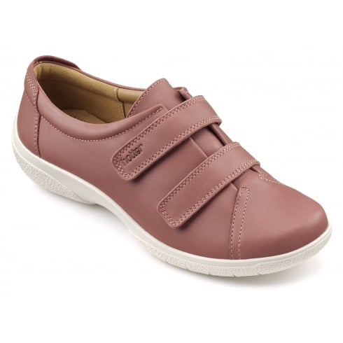 Hotter Leap Salmon Leather Twin Velcro Strap Shoe