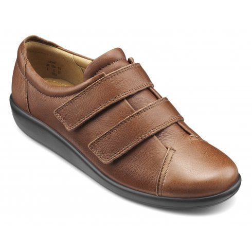 Hotter Leap Std Fit Dark Tan Leather Flat Twin Velcro Strap Shoe