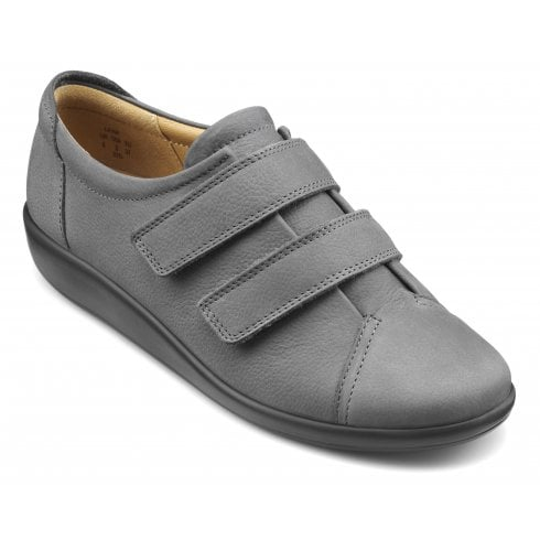 Hotter Leap Std Fit Slate Nubuck Flat Twin Velcro Strap Shoe
