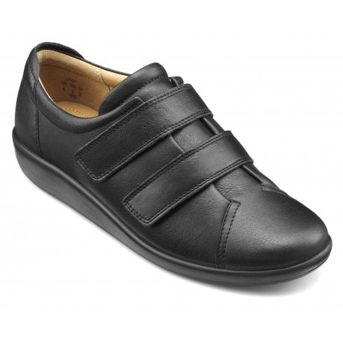 Hotter Leap Wide Fit Black Leather Twin Velcro Strap Shoe