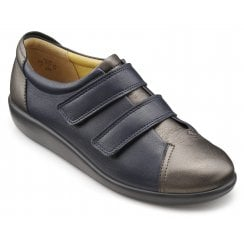 Leap Wide Fit Navy/Pewter Leather Twin Velcro Strap Shoe