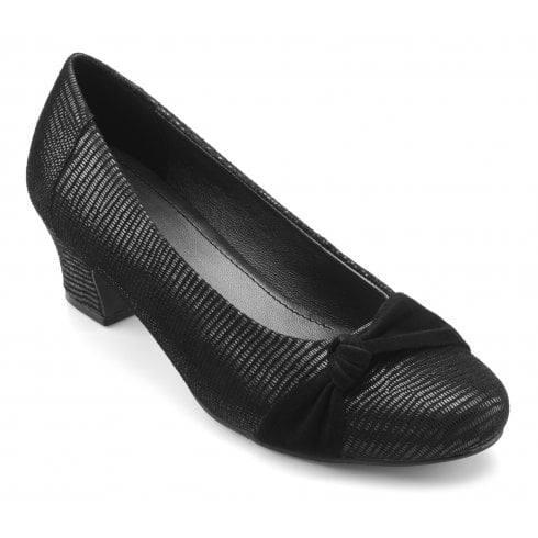 Hotter Lizzie Black Lizard Wide Fit Leather/Suede Heeled Court Shoe
