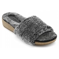 Lovely Grey Std Fit Faux Fur Lined Slippers