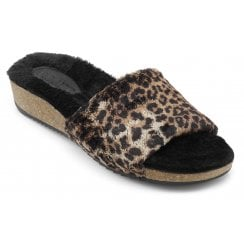 Lovely Leopard Std Fit Faux Fur Lined Slippers