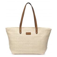 Lucy Beige Straw Weave Shopper Handbag
