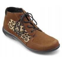 Marie Dark Tan Leopard Print Std Fit Suede Ankle Boot