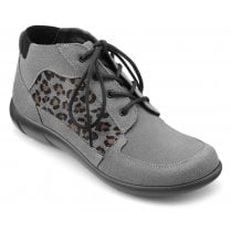 Marie Urban Grey Leopard Print Wide Fit Suede Ankle Boot
