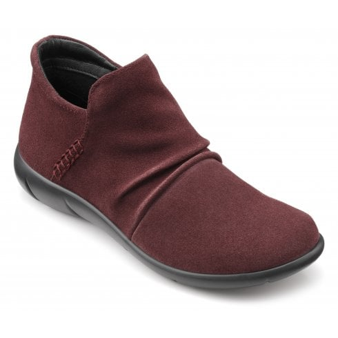 Hotter Marly Maroon Std Fit Suede Zip Up Ankle Boot
