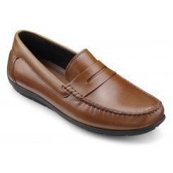 Mayfair Dark Tan Std Fit Leather Loafer Shoe