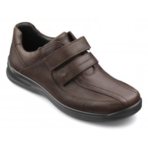 Hotter Medway Dark Brown Leather Twin Velcro Shoe