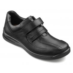 Medway Std Fit Black Leather Twin Velcro Shoe
