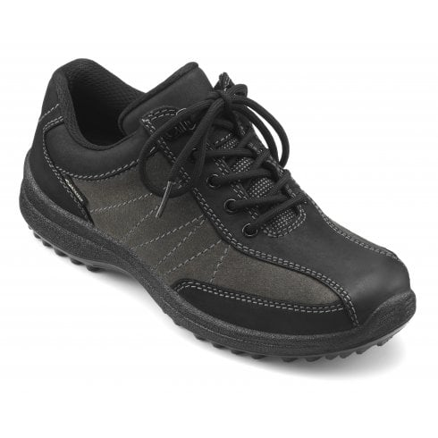 Hotter Mist Black Grey Std Fit Gore-Tex Flat Walking Shoe