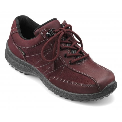 Hotter Mist Std Fit Maroon Gore-Tex Nubuck/Suede Flat Walking Shoe