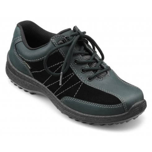 Hotter Mist Wide Fit Forest Green Gore-Tex Nubuck/Suede Flat Walking Shoe