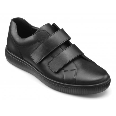 Hotter Montego Black Std Fit Leather Twin Velcro Shoe