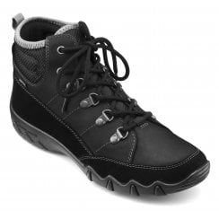 Morland Std Fit Black Gore-Tex Nubuck Flat Lace Up Ankle Boot
