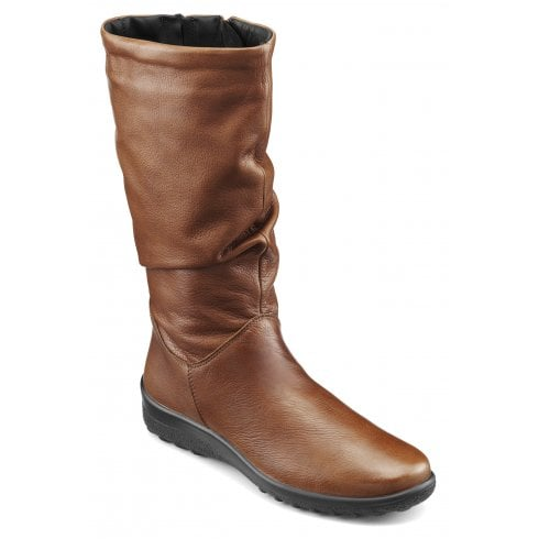 Hotter Mystery Std Fit Dark Tan Leather Flat Calf Length Zip Up Boot