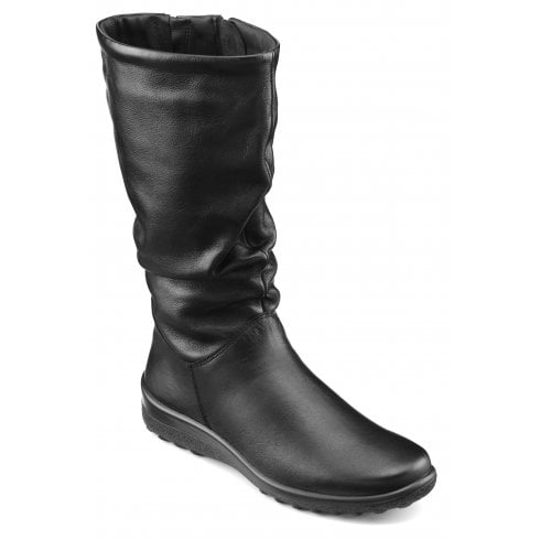 Hotter Mystery Wide Fit Black Leather Flat Calf Length Zip Up Boot