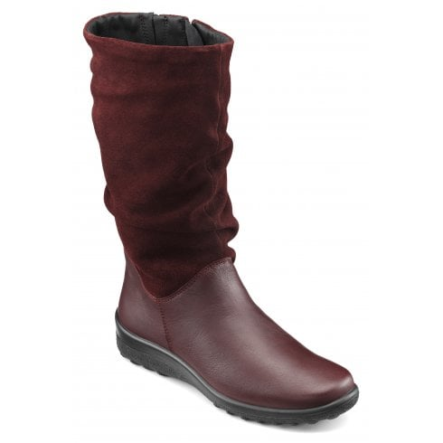 Hotter Mystery Wide Fit Maroon Leather/Suede Flat Calf Length Zip Up Boot