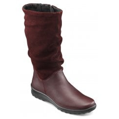 Mystery Wide Fit Maroon Leather/Suede Flat Calf Length Zip Up Boot