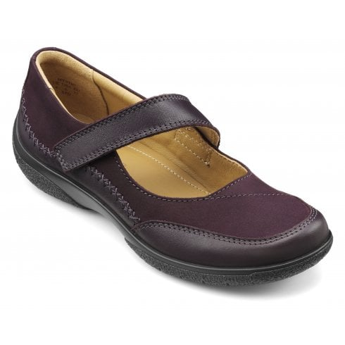 Hotter Mystic Extra Wide/3E Fit Plum Leather/Nubuck Flat Mary Jane Style Shoe