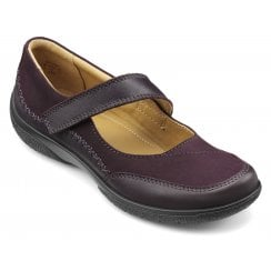 Mystic Extra Wide/3E Fit Plum Leather/Nubuck Flat Mary Jane Style Shoe