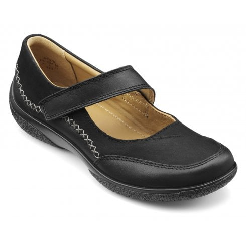 Hotter Mystic Wide Fit Black Leather/Nubuck Flat Mary Jane Style Shoe
