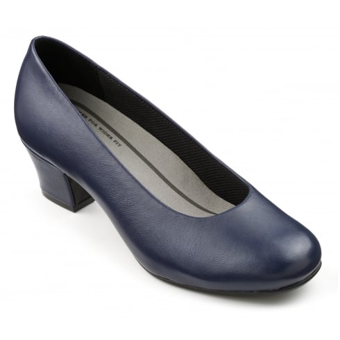 Hotter Navy leather heeled court shoe
