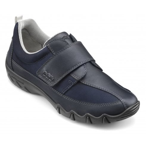 Hotter Nicole Std Fit Navy Leather/Nubuck Flat Velcro Strap Shoe