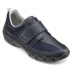 Nicole Wide Fit Navy Leather/Nubuck Flat Velcro Strap Shoe