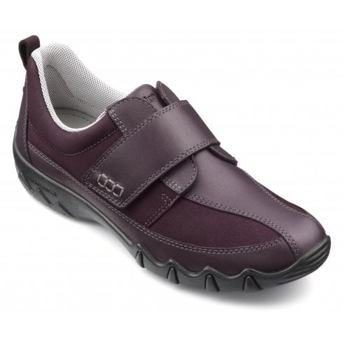 Hotter Nicole Wide Fit Plum Leather/Nubuck Flat Velcro Strap Shoe