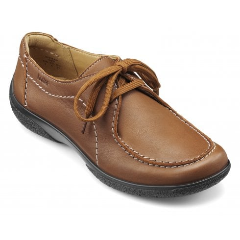 Hotter Nomad Std Fit Dark Tan Leather Flat Lace Up Shoe