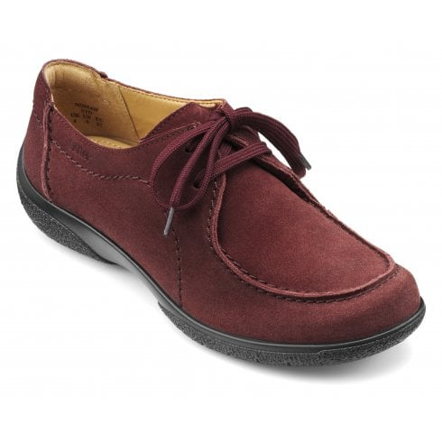 Hotter Nomad Std Fit Maroon Suede Flat Lace Up Shoe