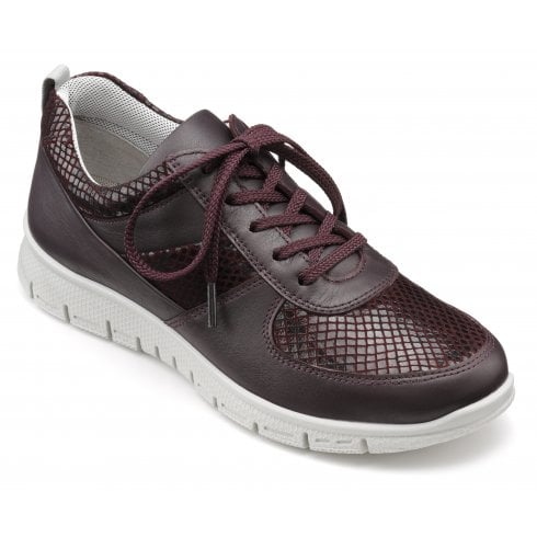 Hotter Orbit Plum Std Fit Leather Lace Up Trainer Style Shoe