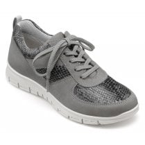 Orbit Urban Grey Std Fit Nubuck/Leather Lace Up Trainer Style Shoe